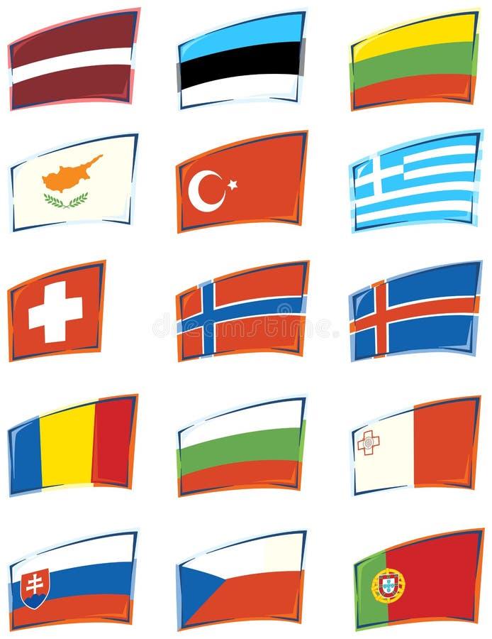 европейские флаги иллюстрация штока
