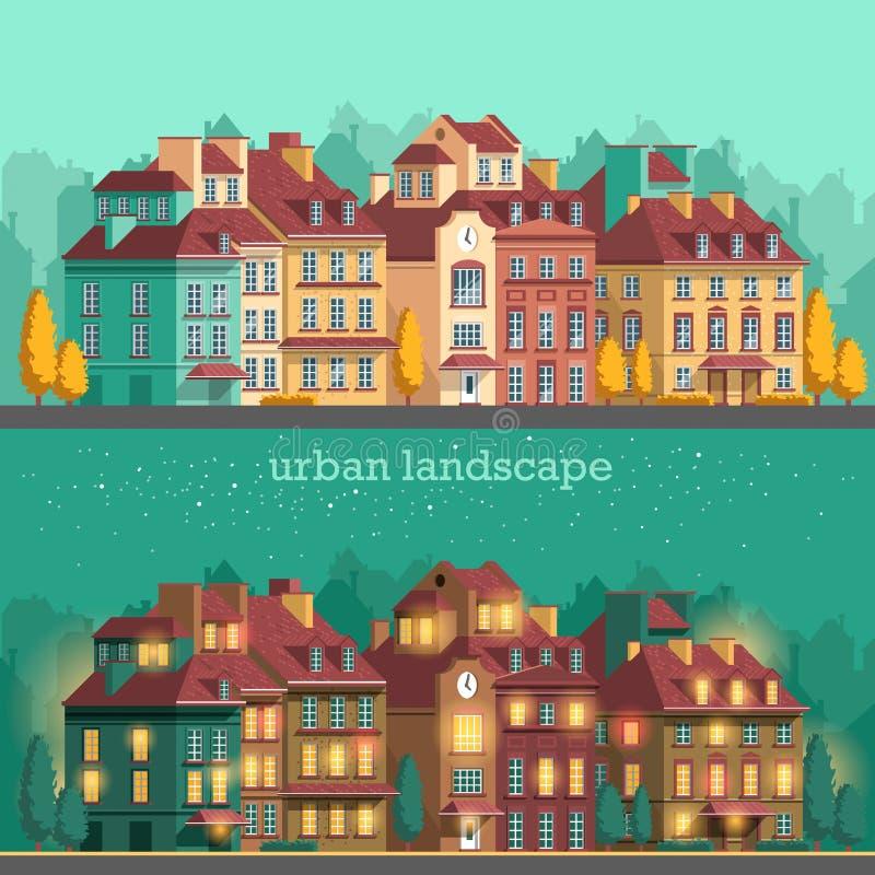 Европейский город с историческими зданиями Традиционный ландшафт архитектуры иллюстрация штока
