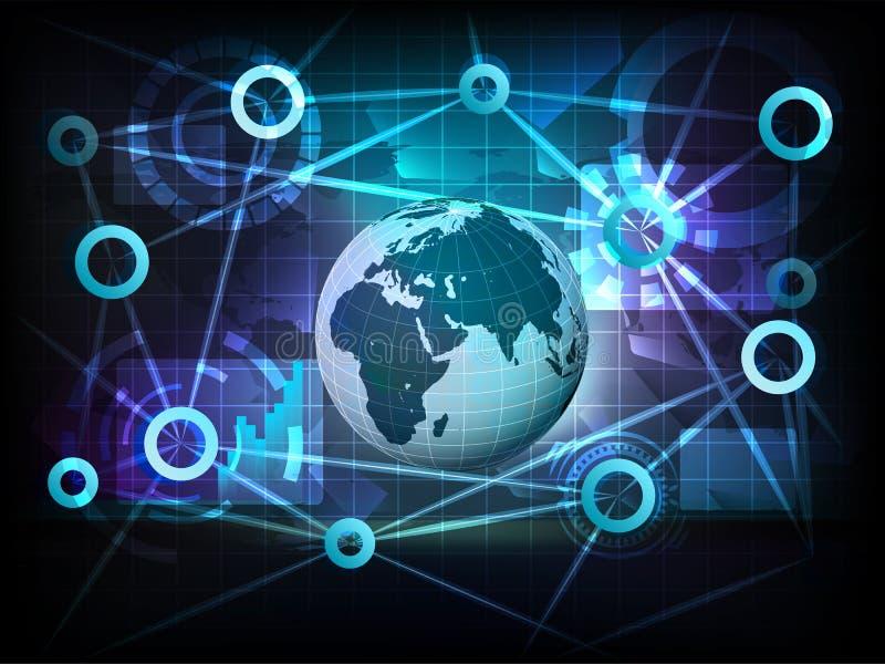Европейский глобус земли в векторе сети переноса мира дела иллюстрация штока