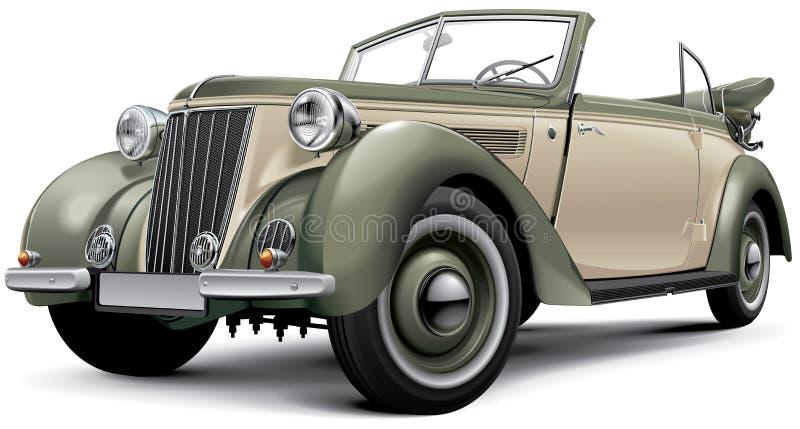 Европейский довоенный роскошный автомобиль с откидным верхом бесплатная иллюстрация