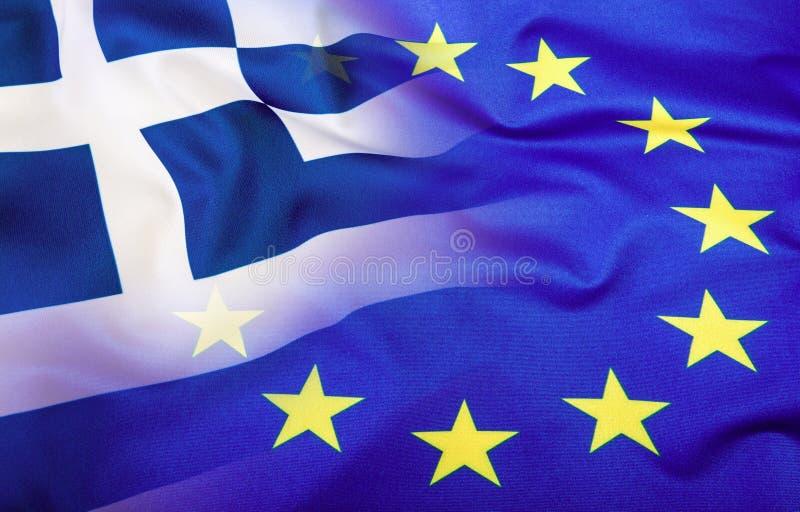 Европейский союз и Греция Концепция отношения между EC и Грецией Развевая флаг EC и Греции стоковые фотографии rf