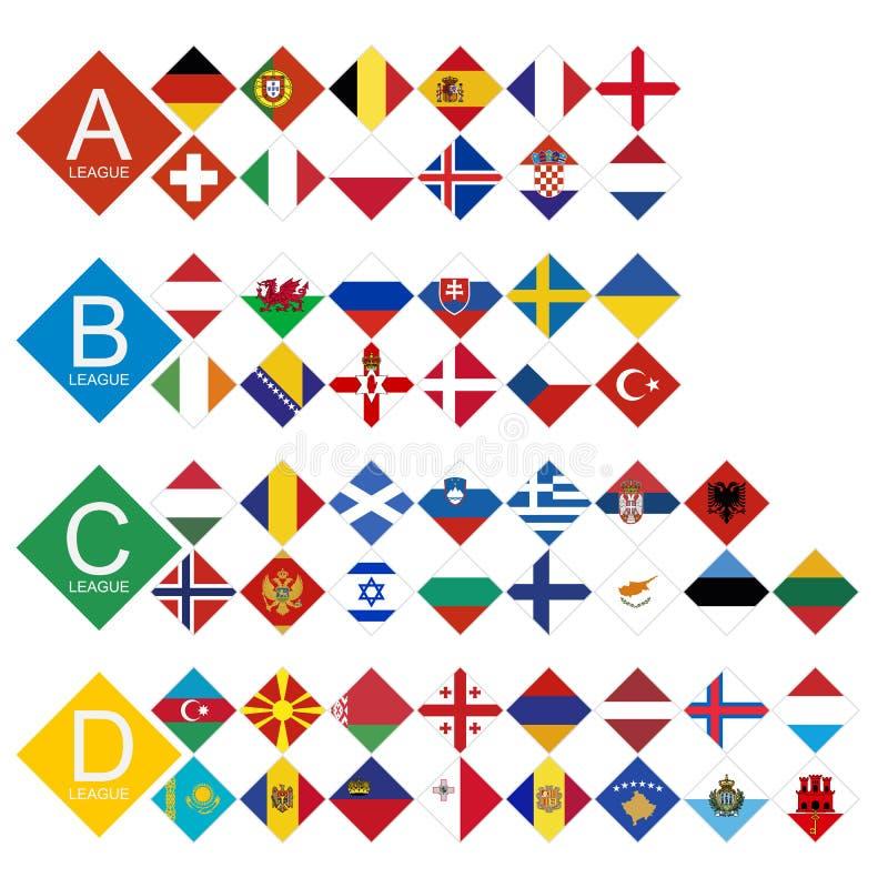 Европейский турнир футбола все конкуренты сигнализируют сортированный Leag иллюстрация вектора