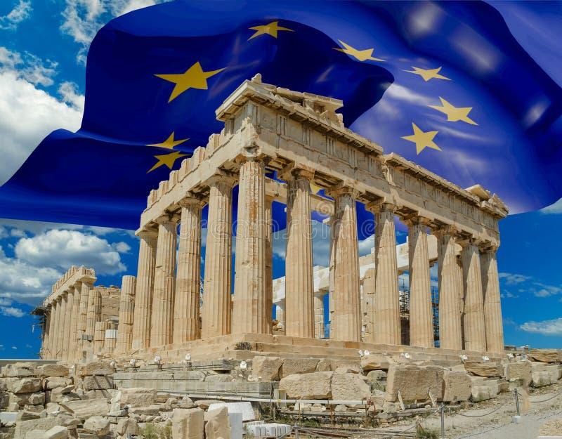 Европейский флаг на Парфеноне Афинах Греции стоковые изображения