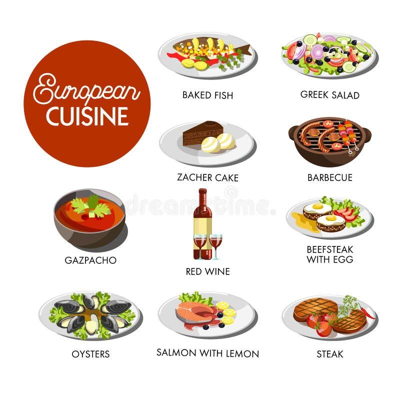 Европейское меню кухни иллюстрация штока