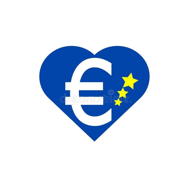 Европейское сердце, флаг Европейского союза иллюстрация штока