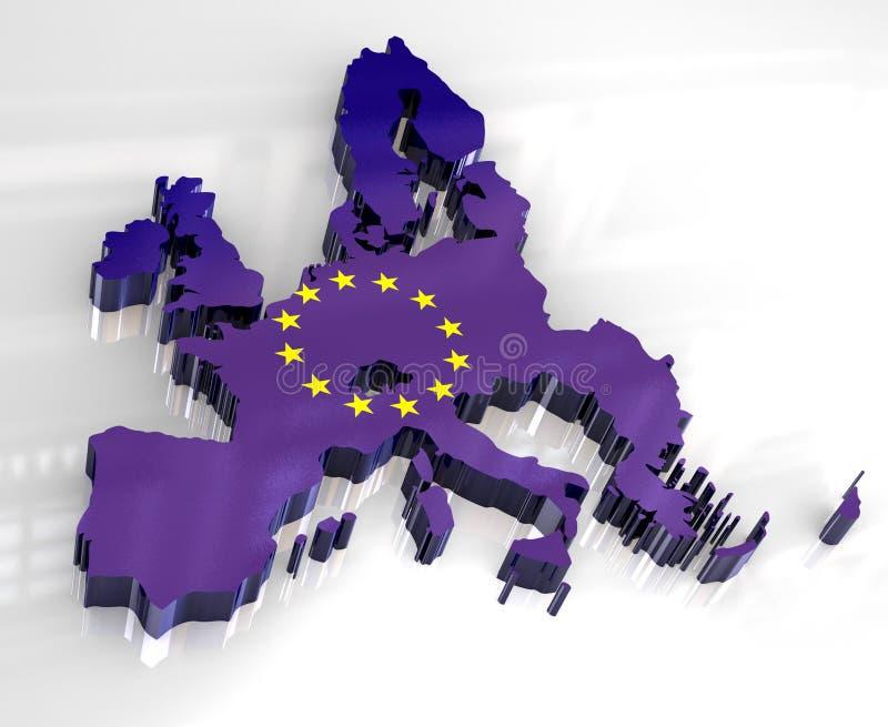 европейское соединение карты флага 3d иллюстрация вектора