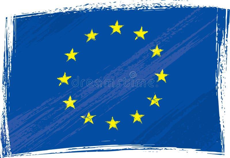 европейское соединение grunge флага иллюстрация штока