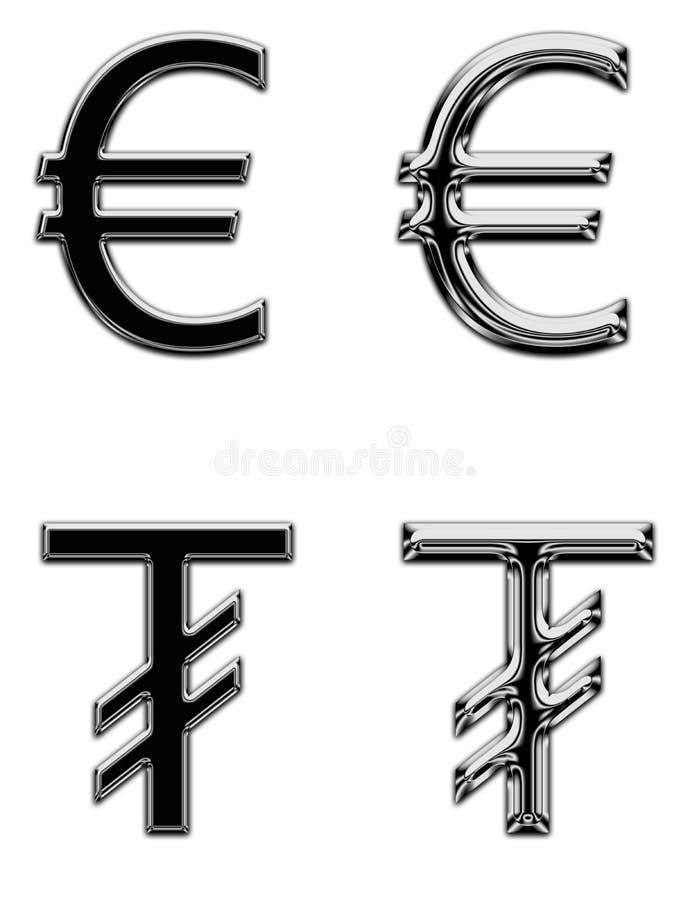 Евро банка денег символа валюты металла поет tugrik стоковое фото rf