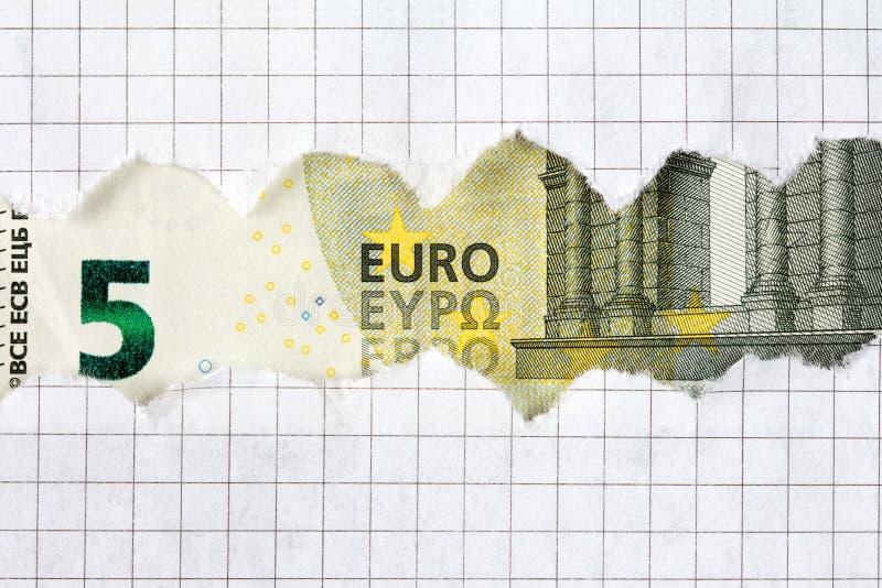 Евро 5 в рамке приданной квадратную форму бумаги стоковые изображения