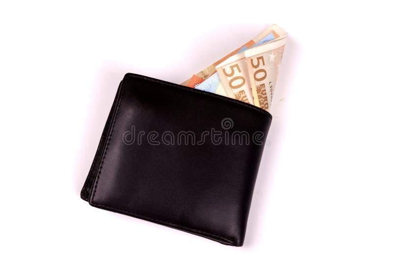 Евро в черном бумажнике стоковая фотография