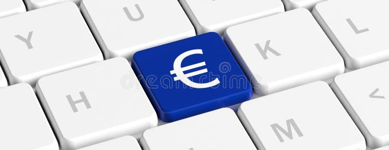 Евро, деньги Голубая ключевая кнопка со знаком на клавиатуре компьютера, знаменем евро иллюстрация 3d иллюстрация вектора