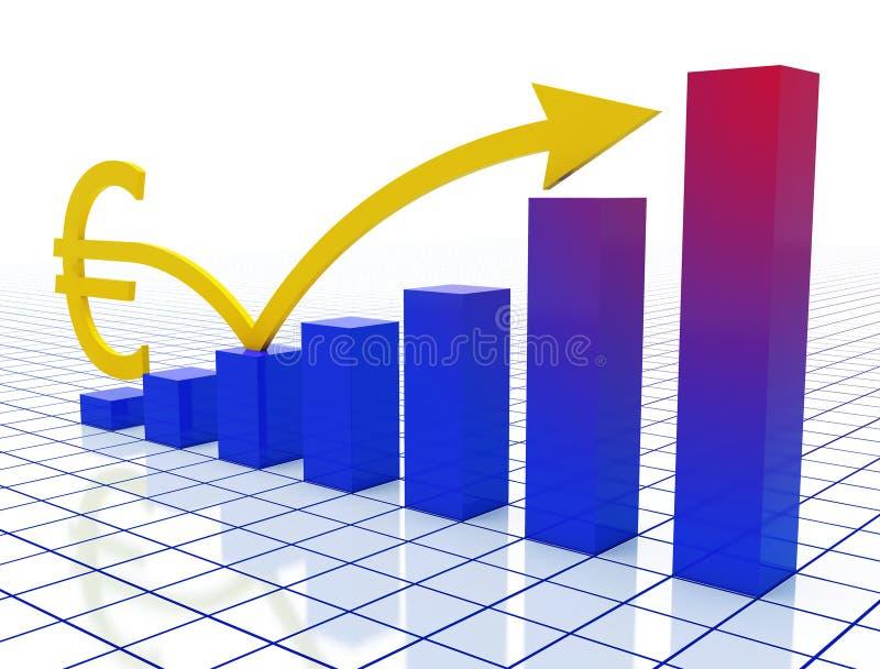 евро диаграммы стрелки иллюстрация штока