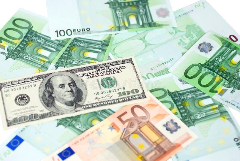 евро доллара стоковое фото