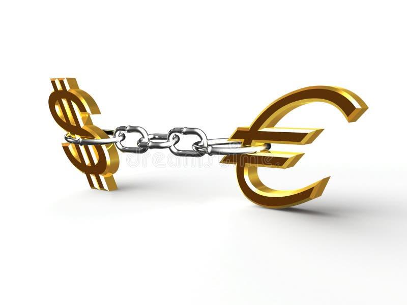 евро доллара иллюстрация штока