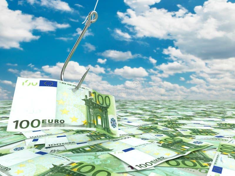 Евро и рыболовный крючок на cloudscape принципиальная схема финансовохозяйственная иллюстрация штока