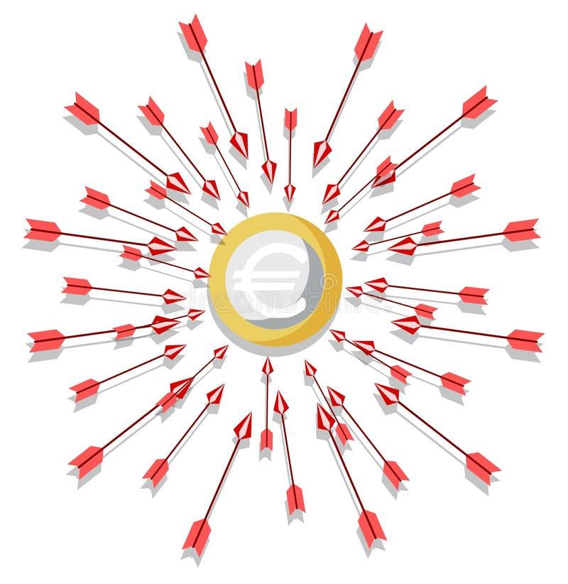 евро нападения вниз иллюстрация штока
