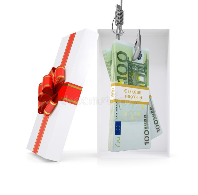 Евро на рыболовном крючке в подарочной коробке иллюстрация вектора