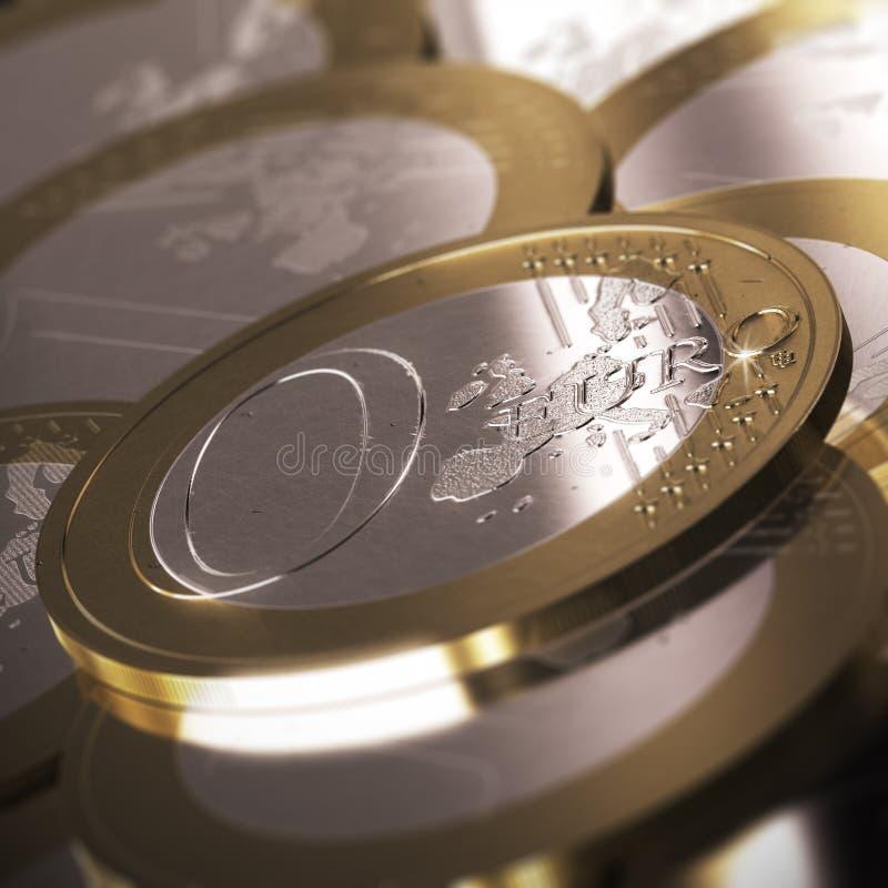 евро нул монетки иллюстрация вектора