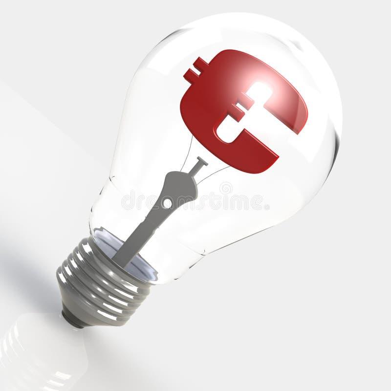 Евро подписывает внутри электрическую лампочку иллюстрация вектора