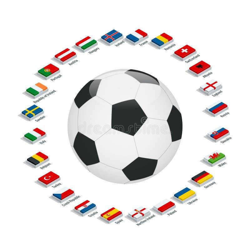 ЕВРО Франция 2016 Флаги и группы вектора Европейский чемпионат футбола Турнир футбола Флаги с именами страны иллюстрация вектора