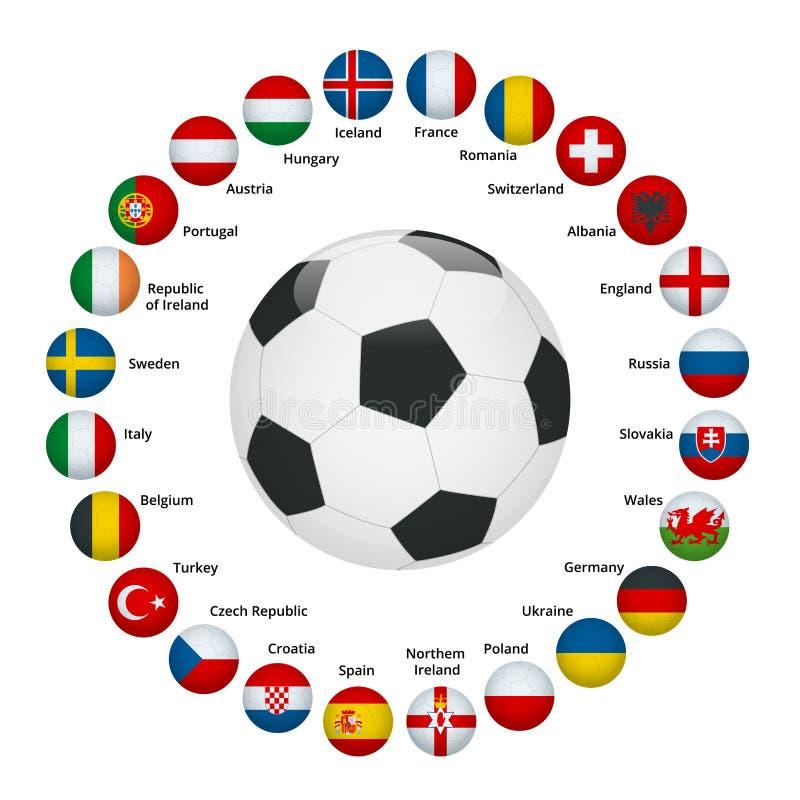 ЕВРО Франция 2016 Флаги и группы вектора Европейский чемпионат футбола Турнир футбола Флаги с именами страны бесплатная иллюстрация