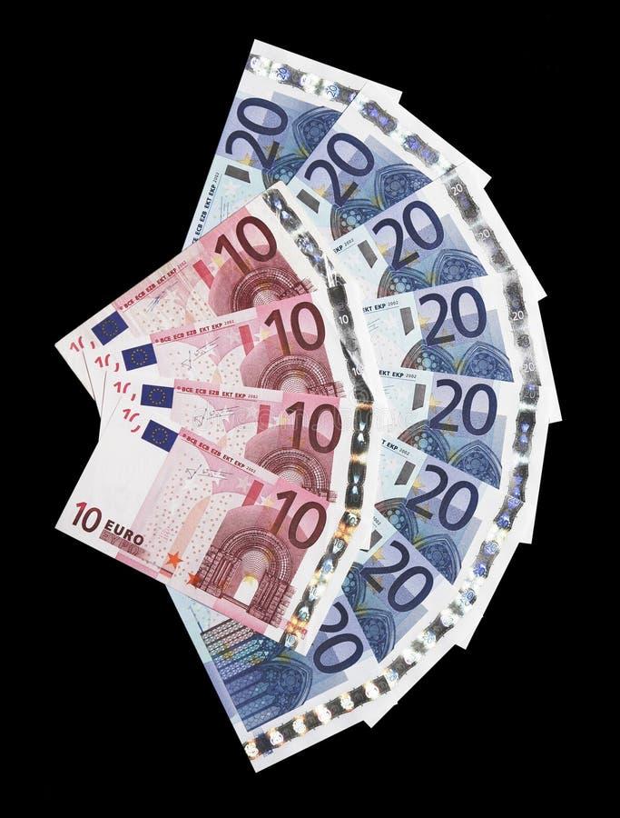 евро 10 20 много примечаний дег стоковые изображения rf