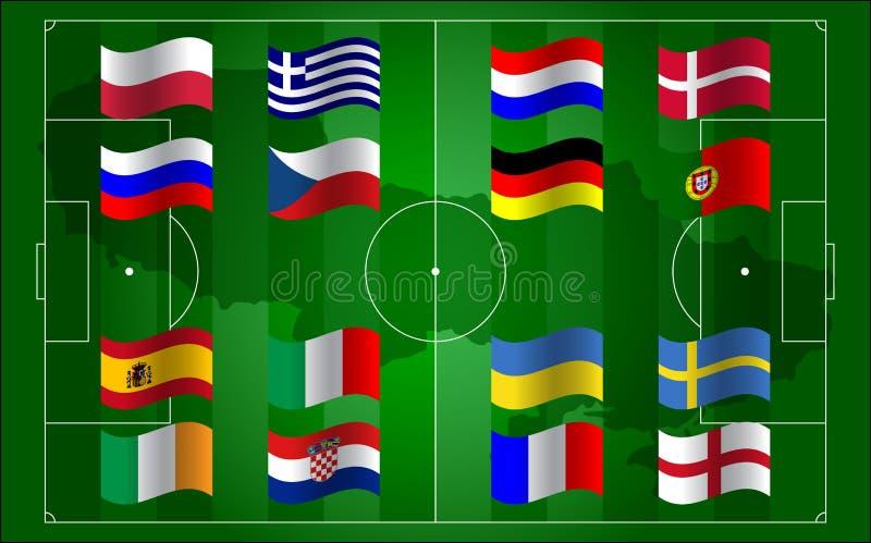 Евро 2012 UEFA и футбольное поле флага бесплатная иллюстрация