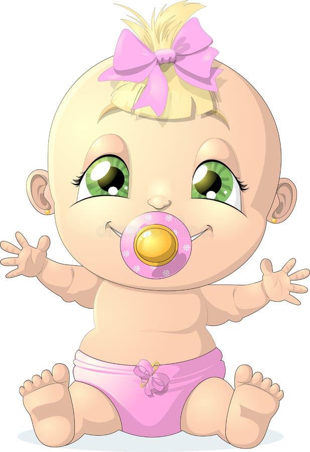девушка бутылки младенца бесплатная иллюстрация