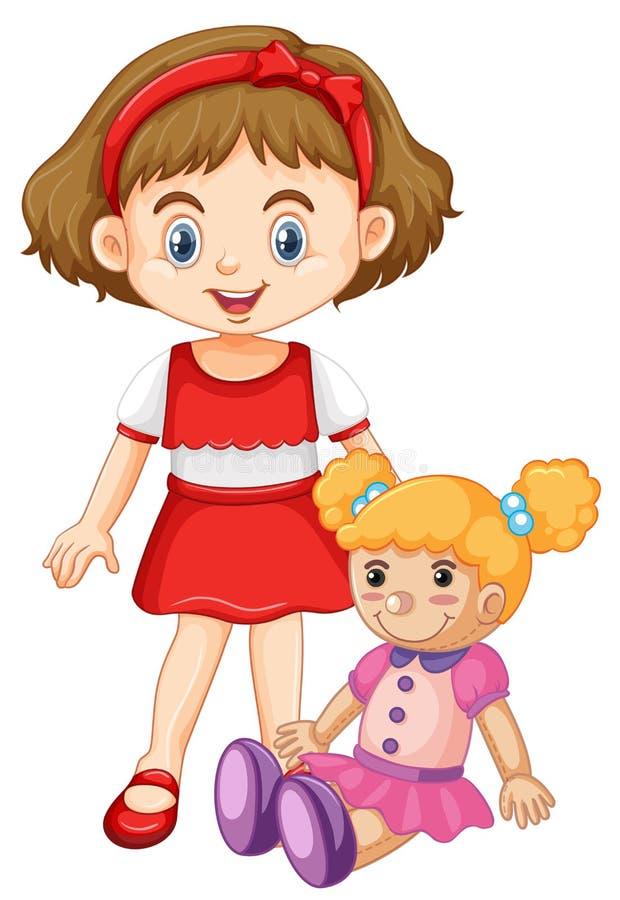 девушка куклы немногая играя иллюстрация штока