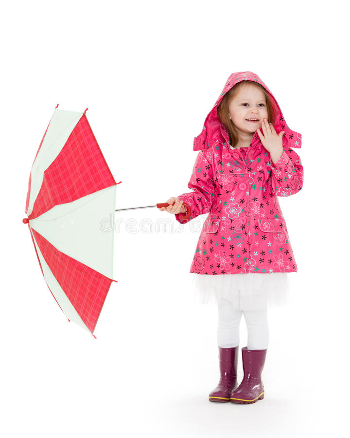 девушка меньший зонтик стоковая фотография