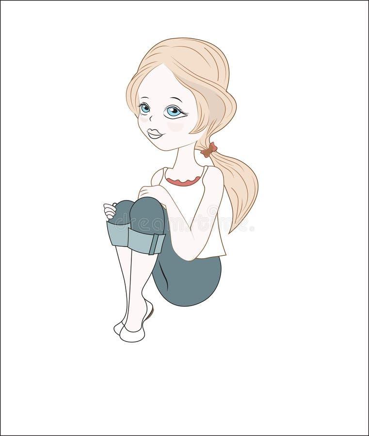 девушка немногая сидит бесплатная иллюстрация