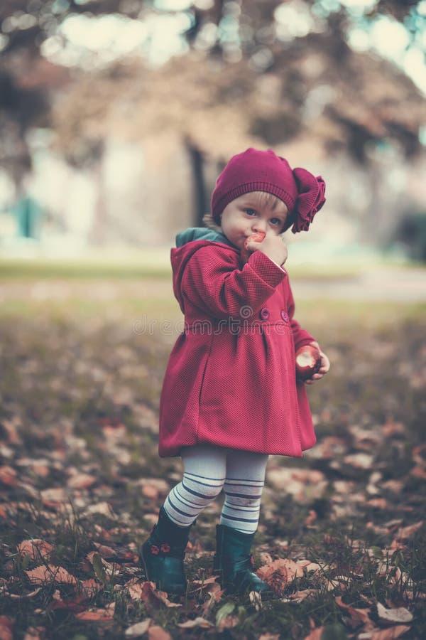 девушка осени меньший парк стоковая фотография