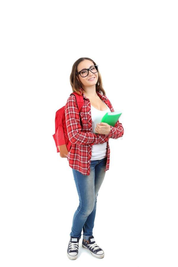 девушка предпосылки над детенышами студии студента всхода белыми стоковое фото rf