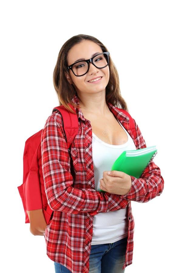 девушка предпосылки над детенышами студии студента всхода белыми стоковое изображение rf