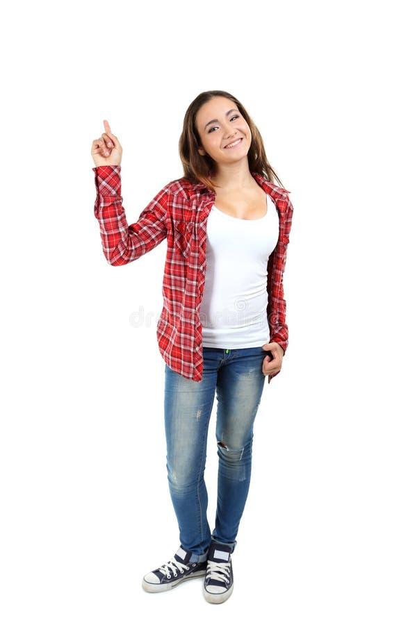 девушка предпосылки над детенышами студии студента всхода белыми стоковые изображения rf
