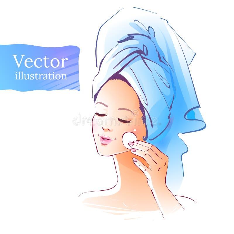 девушка прикладывать политуру кожи внимательности прозрачную иллюстрация вектора
