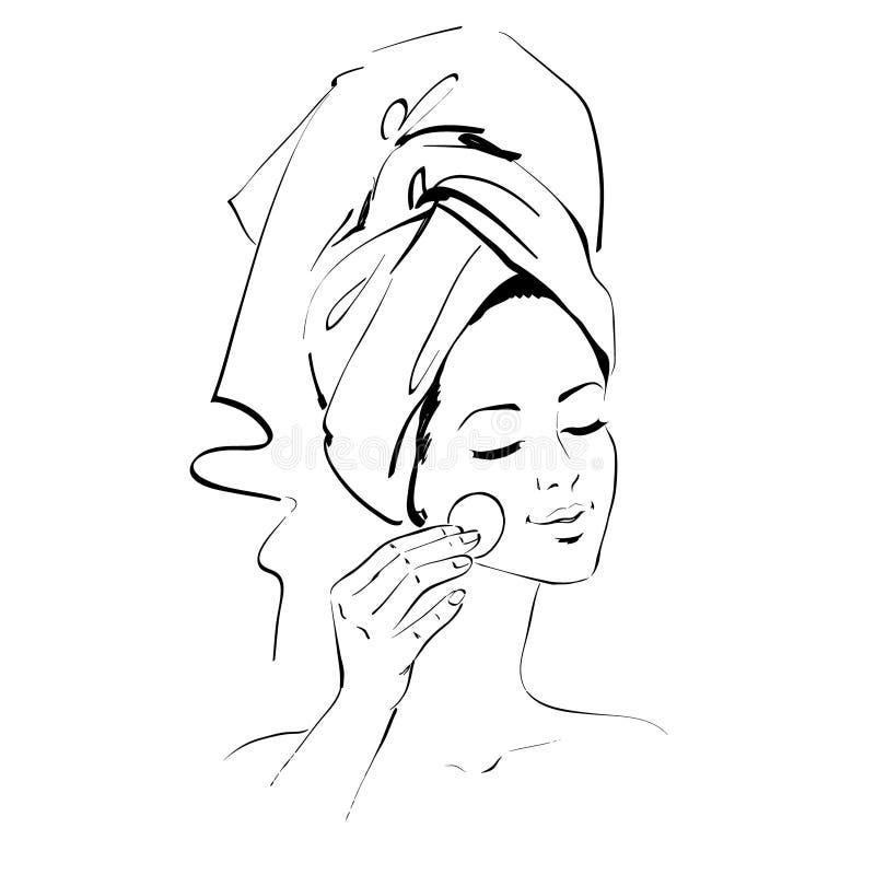 девушка прикладывать политуру кожи внимательности прозрачную иллюстрация штока