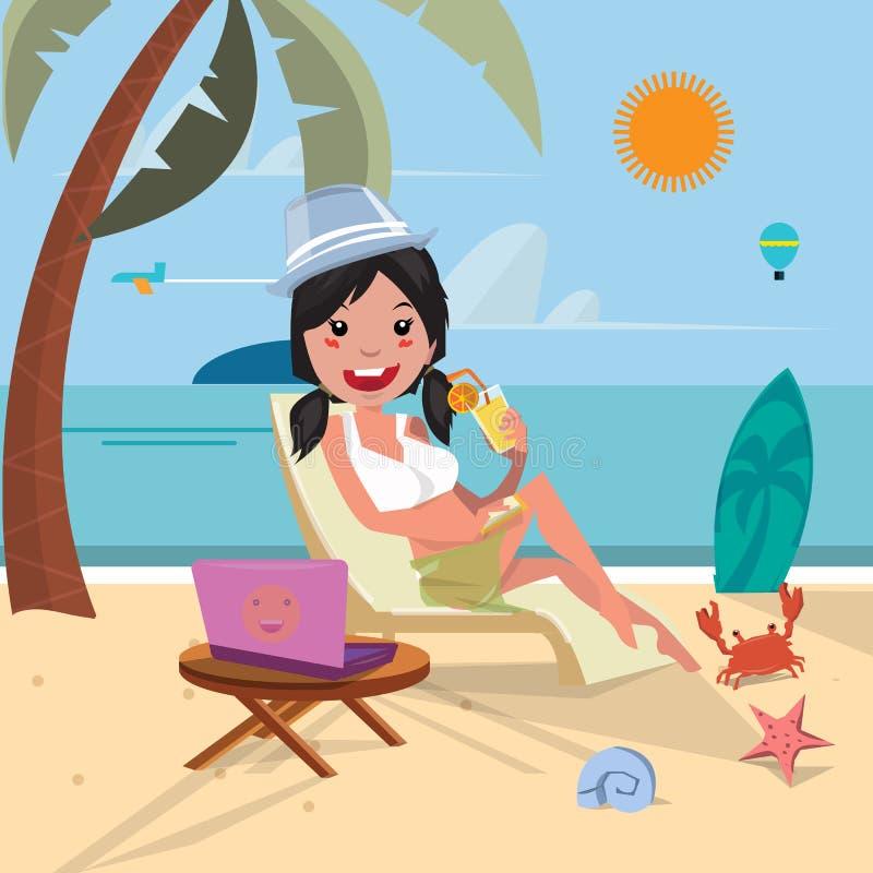 девушка пляжа сексуальная Работа пока ослабляющ на острове - vec иллюстрация штока