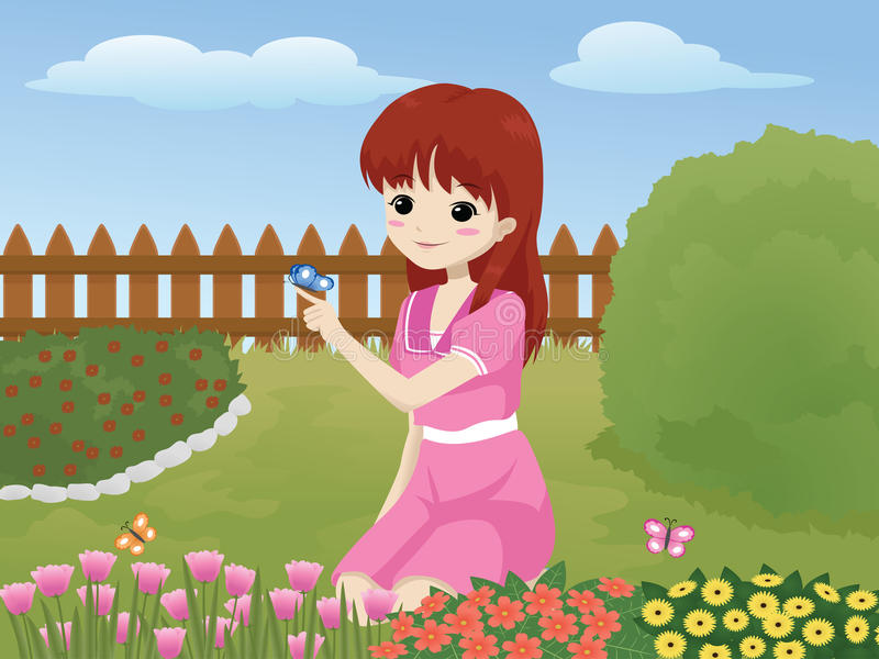 девушка сада бесплатная иллюстрация