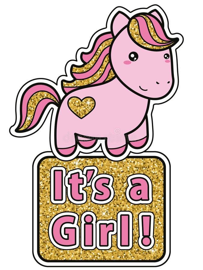 девушка своя Яркая розовая и золотая карточка приглашения детского душа яркого блеска с милым пони kawaii шаржа бесплатная иллюстрация