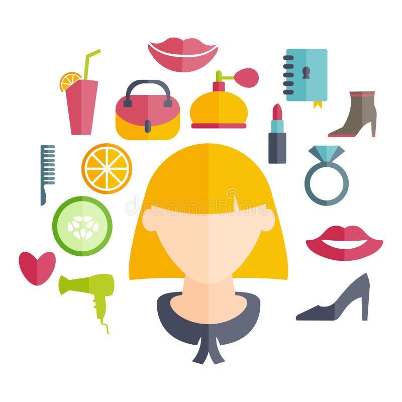 девушка с стилем причёсок и значками различного women иллюстрация штока