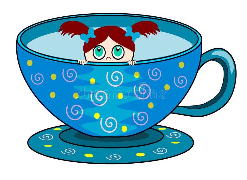 девушка чашки немногая стоковое изображение