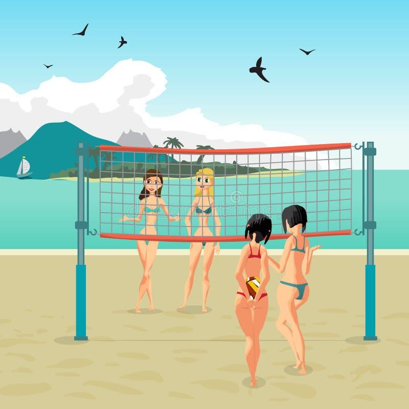 4 девушки играя волейбол на пляже бесплатная иллюстрация