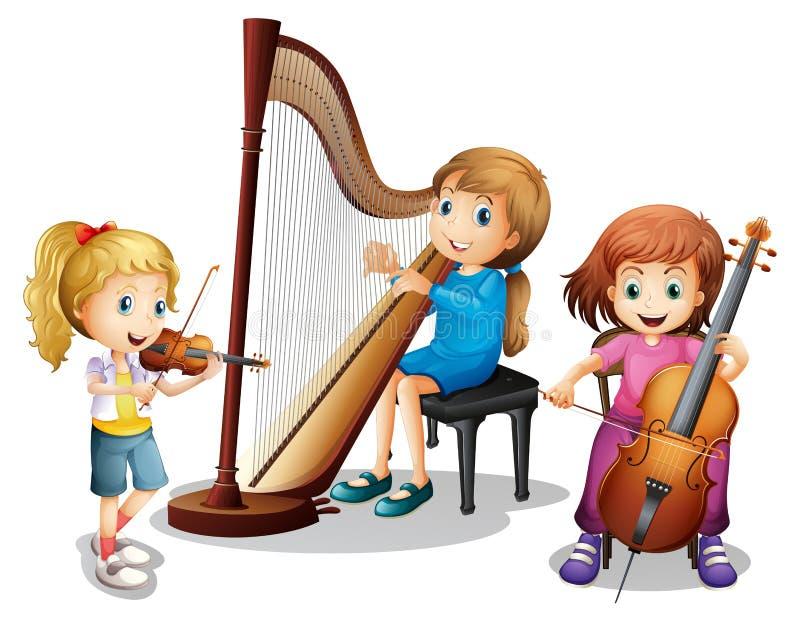 3 девушки играя музыку бесплатная иллюстрация