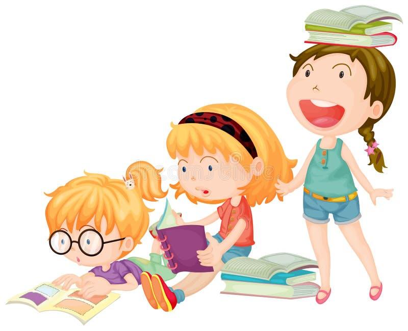 3 девушки наслаждаются книгами чтения иллюстрация вектора