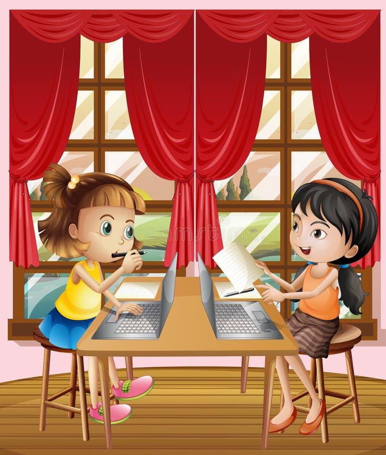 2 девушки работая на компьтер-книжке компьютера иллюстрация вектора