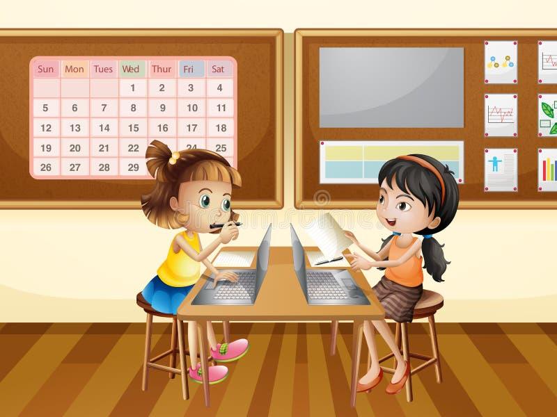 2 девушки работая на компьютере в классе иллюстрация вектора