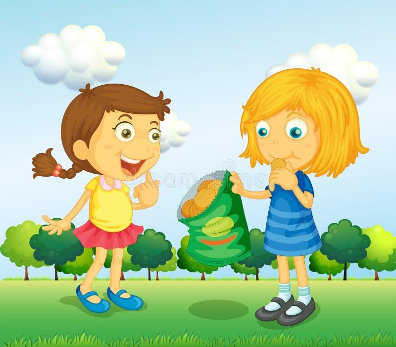 2 девушки разговаривая с поп-едами иллюстрация штока