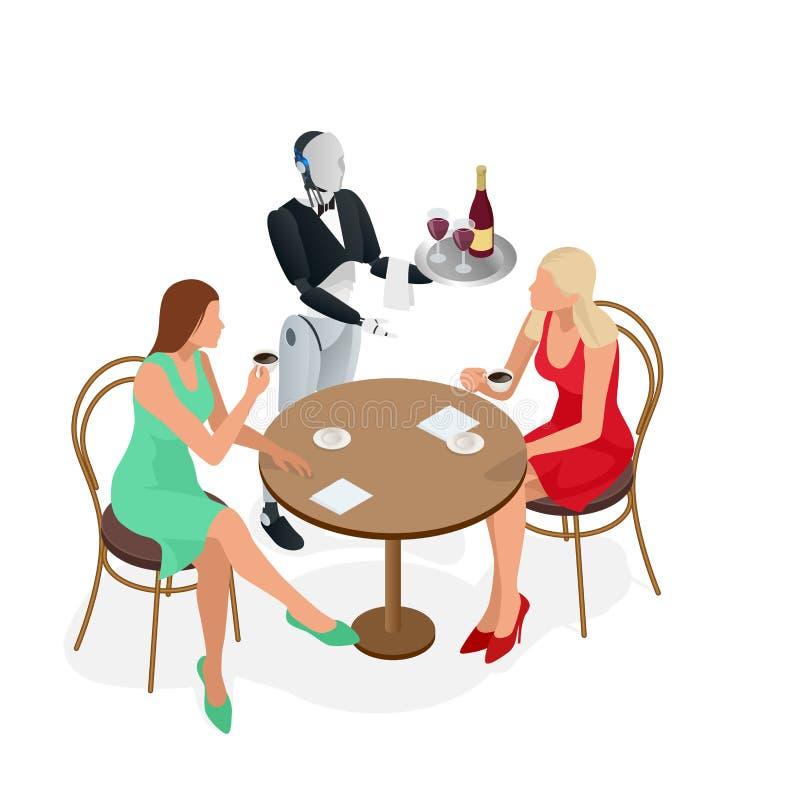 2 девушки сидят в кафе Кельнер робота в смокинге и перчатки держа вино и поднос и салфетку кубков равновелико бесплатная иллюстрация