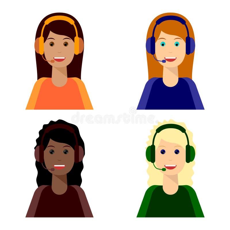 4 девушки, центр телефонного обслуживания иллюстрация вектора